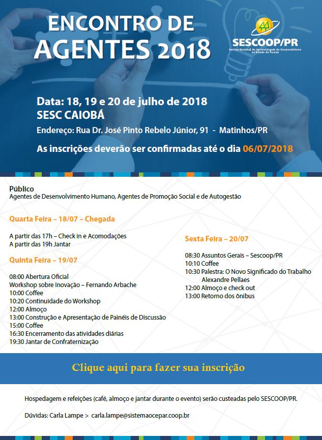 informe paraná cooperativo online edição nº 4369formaÇÃo encontro estadual de agentes terá workshop sobre inovação
