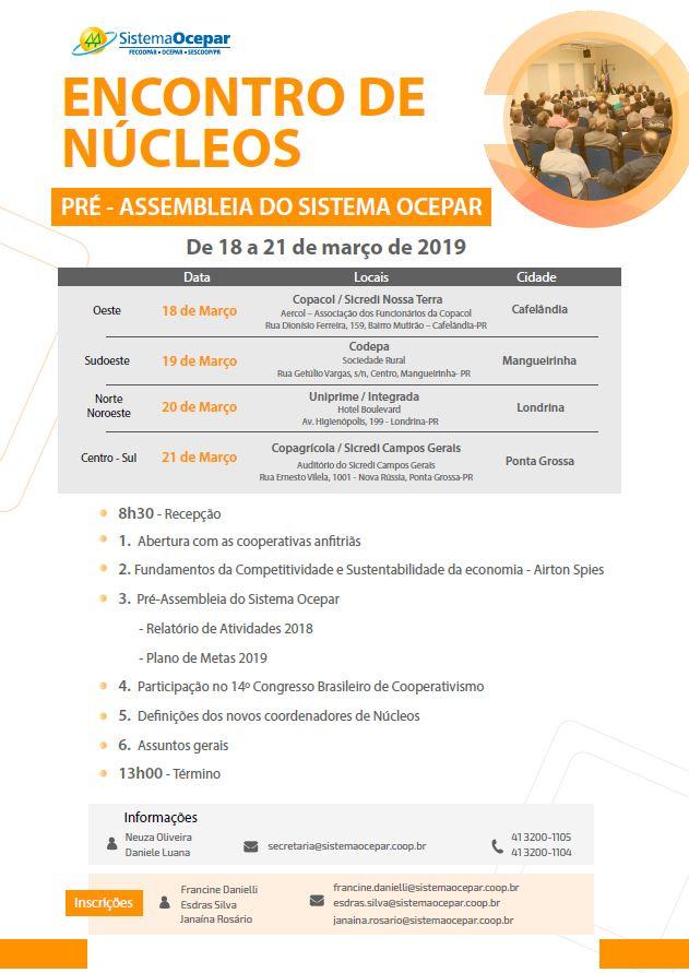 1987c5e592bc2 ENCONTROS DE NÚCLEOS  Propostas do PR para o 14º Congresso Brasileiro de  Cooperativismo estarão em debate